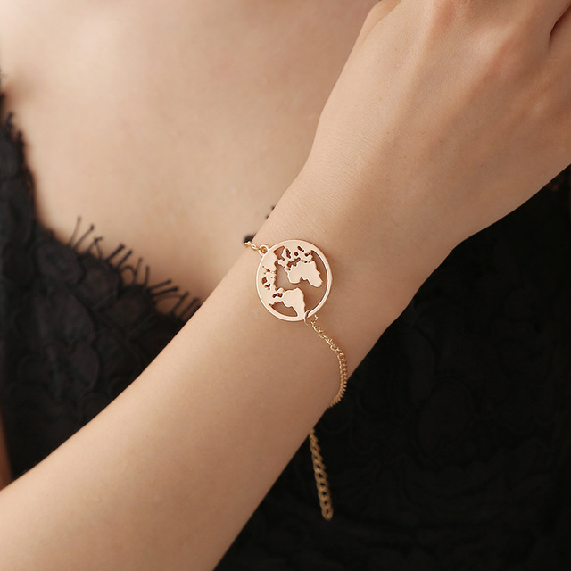 2018 Fashion World Map Bracelets Bangles Jewelry Gold Silver Color