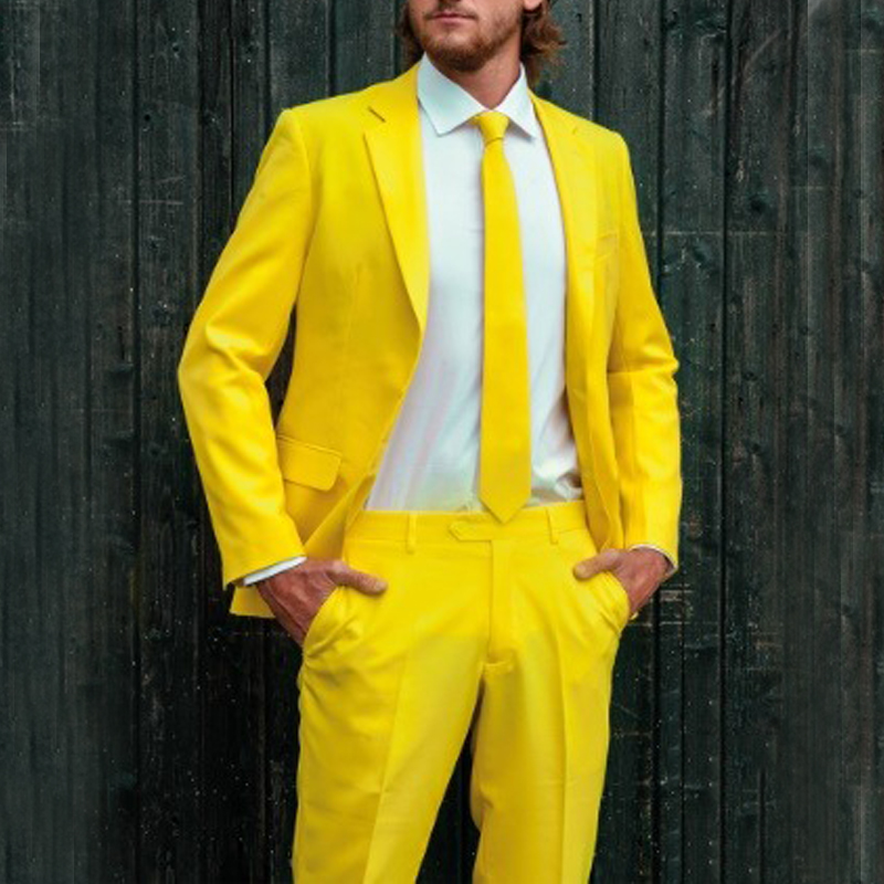 Bright Yellow 2019 Wedding Costume Men's Suit Slim Fit Mens Tuxedo Two Piece Formal Prom Party Suit Custom Made Grooms Suit