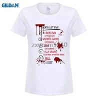Kill Bill GILDAN Muerte Lista Cinco Divertidos de La Camiseta de las mujeres Impresión Digital 100% 180 gsm Peinados de Algodón Carta Informal Camiseta camisa