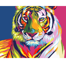 Digital Diy oil painting by numbers snow tiger wall decor picture on canvas oil paint coloring by number drawing animals 40X50CM(China)