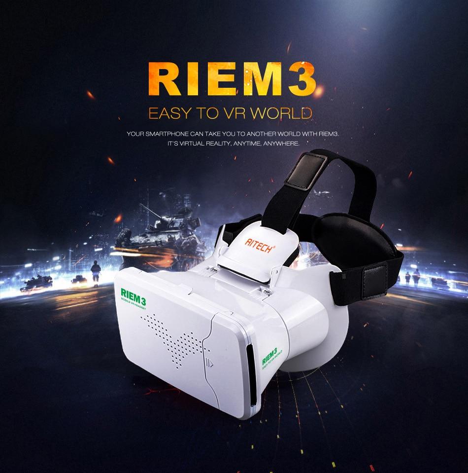 RITECH III RIEM3 VR Virtual Reality 3D Glasses Head Mount Google Cardboard + Phone Wireless Bluetooth Remote Control