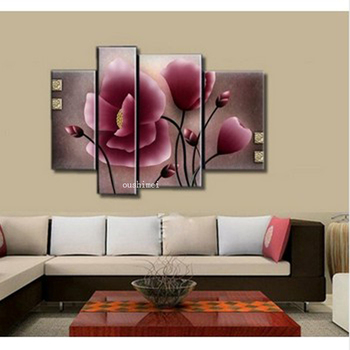 4pcs/lot Hand Pianted Purple Magnolia Flowers Canvas Oil Painting For Living Room Art Home Decor On Wall