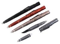 Outdoor Self Defense Tactical Pen EDC Multi Tool W Tungsten Steel Glass Breaker Knife Blade 60lm