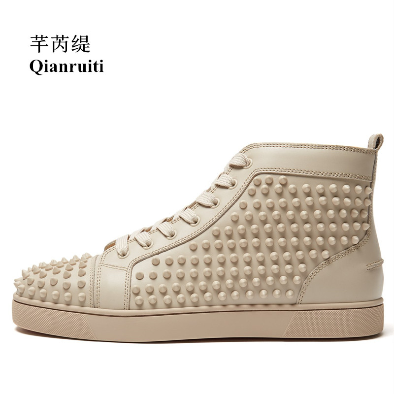 94fafd119dc2 Qianruiti Men Full Spike Casual Shoes Beige Leather Rivet Sneaker Lace-up  Flat High Top