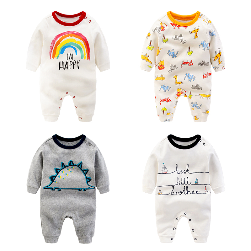 Newborn Baby Rompers Spring Animal Rainbow Dinosaur Boys Girls Jumpsuit for Infant Clothes 2017 New Full Sleeve Kids Baby Romper 2017 lovely newborn baby rompers infant bebes boys girls short sleeve printed baby clothes hooded jumpsuit costume outfit 0 18m