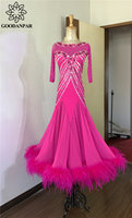 GOODANPAR Ballroom Dance Standard Women Girls Ostrich Feather Ballroom Dress For Dancing Waltz Flamenco Tango Stage Dance Wear
