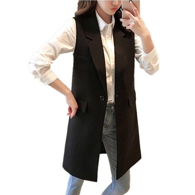 Spring Korean Fashion Long Outerwear Women Cardigan 5XL Plus Size Sleeveless Female Jacket Elegant Slim Black Women's Vest Coat