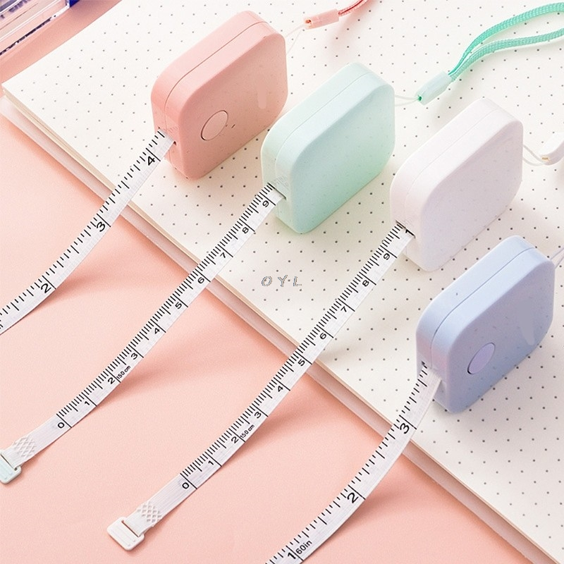 1.5m*7mm Candy Color Small Plastic Retractable Tape Measure Office School Supply  Portable Fashion Design