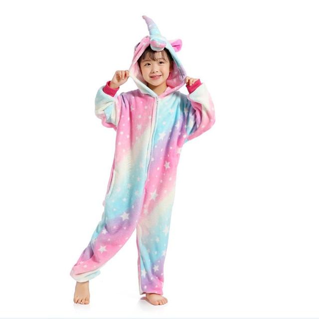 2018 Xmas Gift Children Unisex Unicorn Onesie Animal Pajamas Kigurumi Boys  Girls Halloween Costumes Kids Winter Warm Flannel BH 23b6290b5