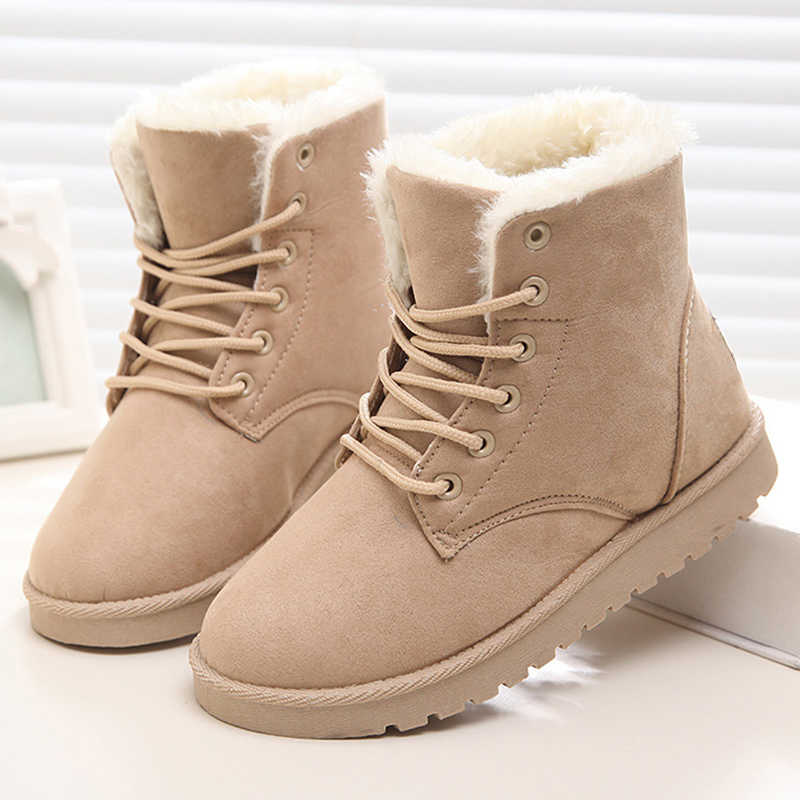 2019 New Women Boots Warm Fur Snow Boots Women Shoes Winter Shoes Woman Ankle Boots Lace-Up Women Flat Shoes Female Booties