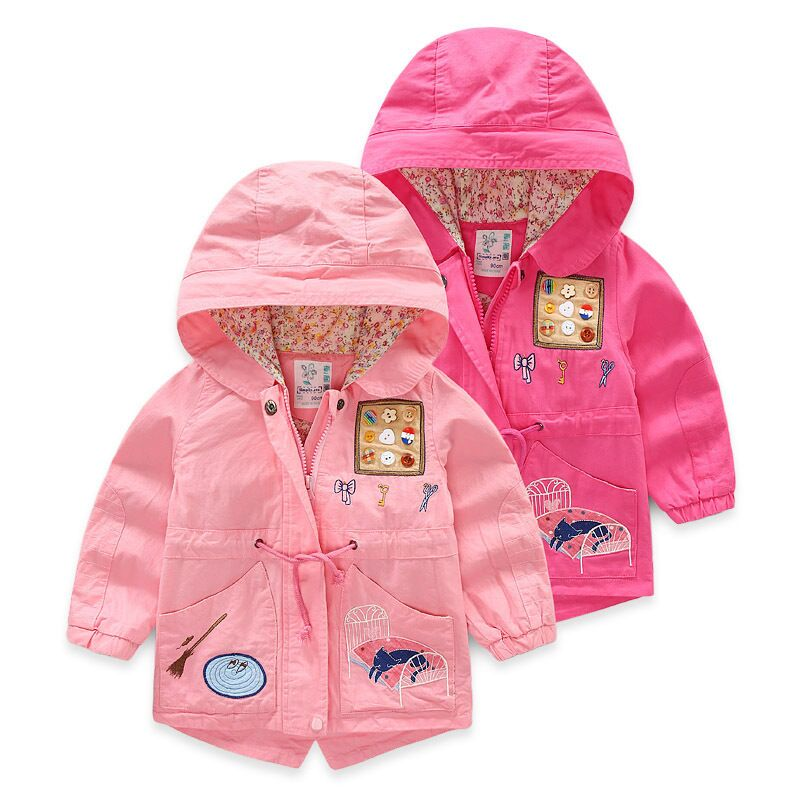 2017 Autumn girls clothing casual embroidery children outerwear & coats cartoon girls jackets New kids hooded coats for girls