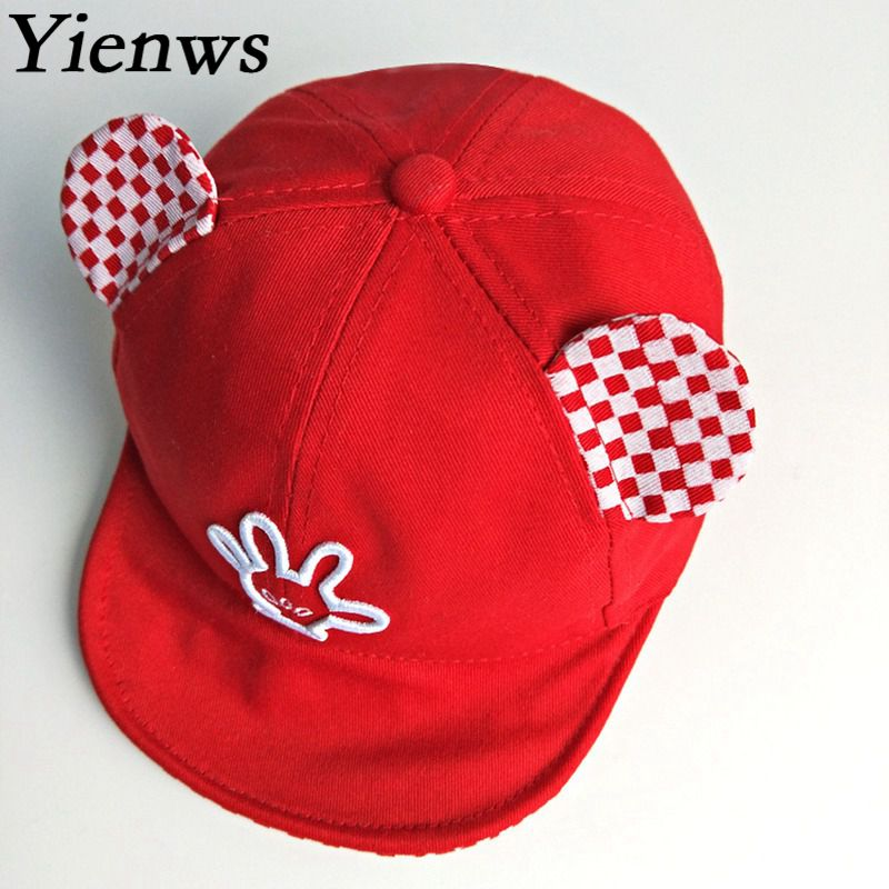 Yienws Flat Baseball Caps for Boys Girls 2018 Summer Finger Embroidery Ear Baseball Cap  ...