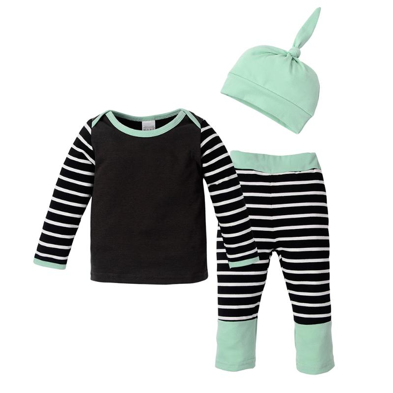 3pcs Autumn Winter Infant Baby Clothing Set Boy Girl Striped T-shirt Pants Hat Outfits Set Soft Cotton Blended Baby Clothes