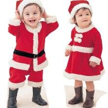 Enfants de noël Ensemble D'habillement 2017 Nouveaux enfants En Bas Âge Bébé de Santa Claus Costume Rouge Chaud Nouvelle Année Costumes pour Garçons Filles
