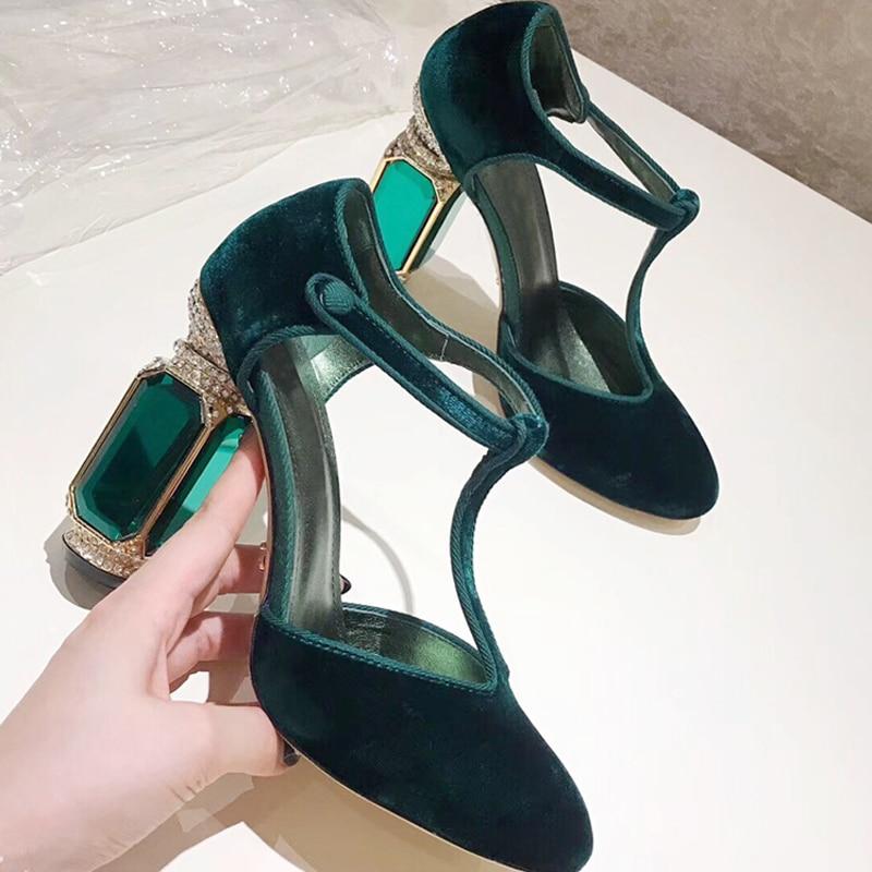Luxe Noir De Rouge Talons Chaussures vert Vert Femme Bout Violet Sandales Parti À Noir Strass Diamant pourpre 2019 Femmes Cristal Rond Hauts rouge Velours RCqUwn51E
