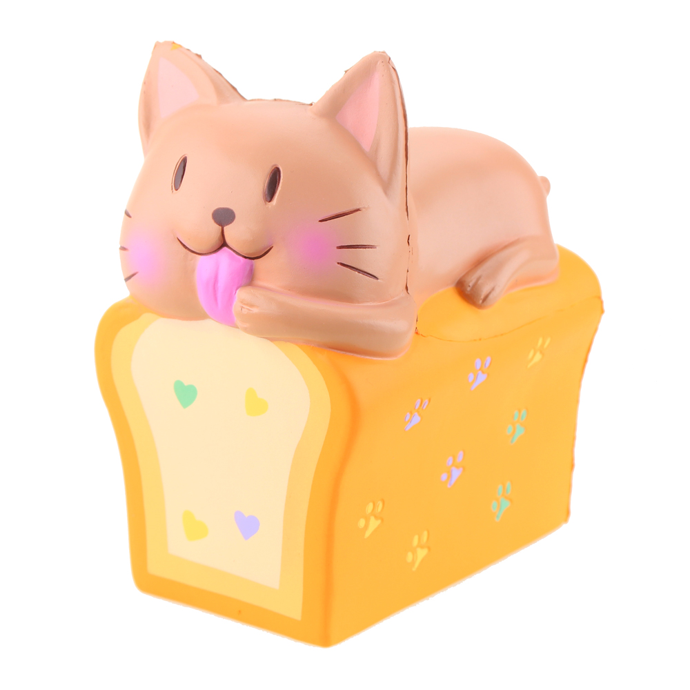 2 Colors Jumbo Squishy Cat Toast Kitty Bread Slow Rising Toys Animals Stress Relief Toys Simulation Food Soft Toys Gift For Kids