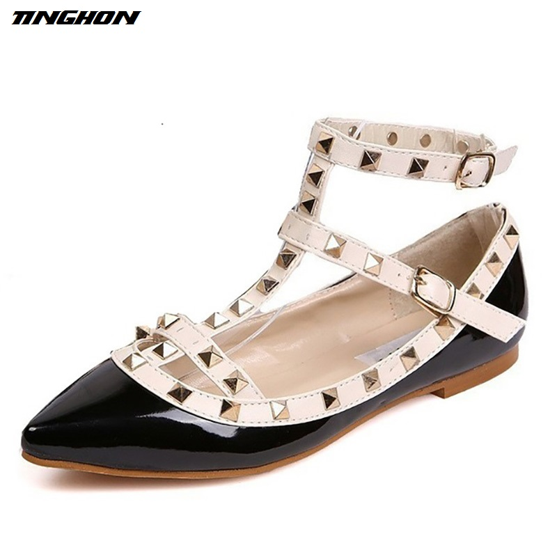 Fashion Women Rivet Pointed Toe Color Block Patent Leather Gladiator Flats Sexy Stud Women Ballet Flat Shoes Brand Flats pu pointed toe flats with eyelet strap