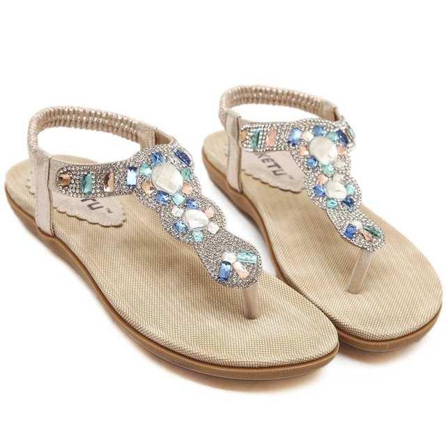 Ouro Prata Strass Mulheres Sandálias Da Moda strass apartamentos confortáveis virar gladiador sandálias de festa sapatos de casamento 383-3