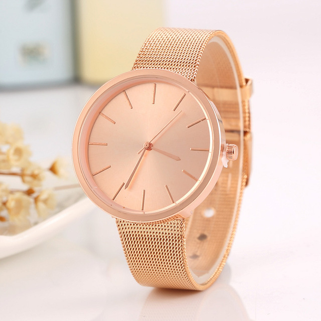 MEIBO Fashion Silver And Rose Gold Mesh Band Wrist Watch Casual Quartz Bracelet