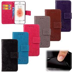For Flip Wallet Case iPhone 5s Leather Case For iPhone 5 SE Shockproof Soft Silicone Cover Stand Phone Bag For iPhone 5c 2