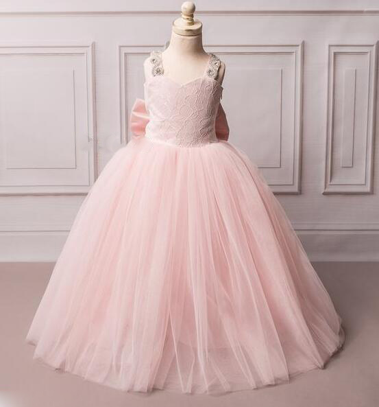 Sexy backless blush pink ball gown flower girl dresses long sparkly crystals rhinestones toddler graduation party birthday gown