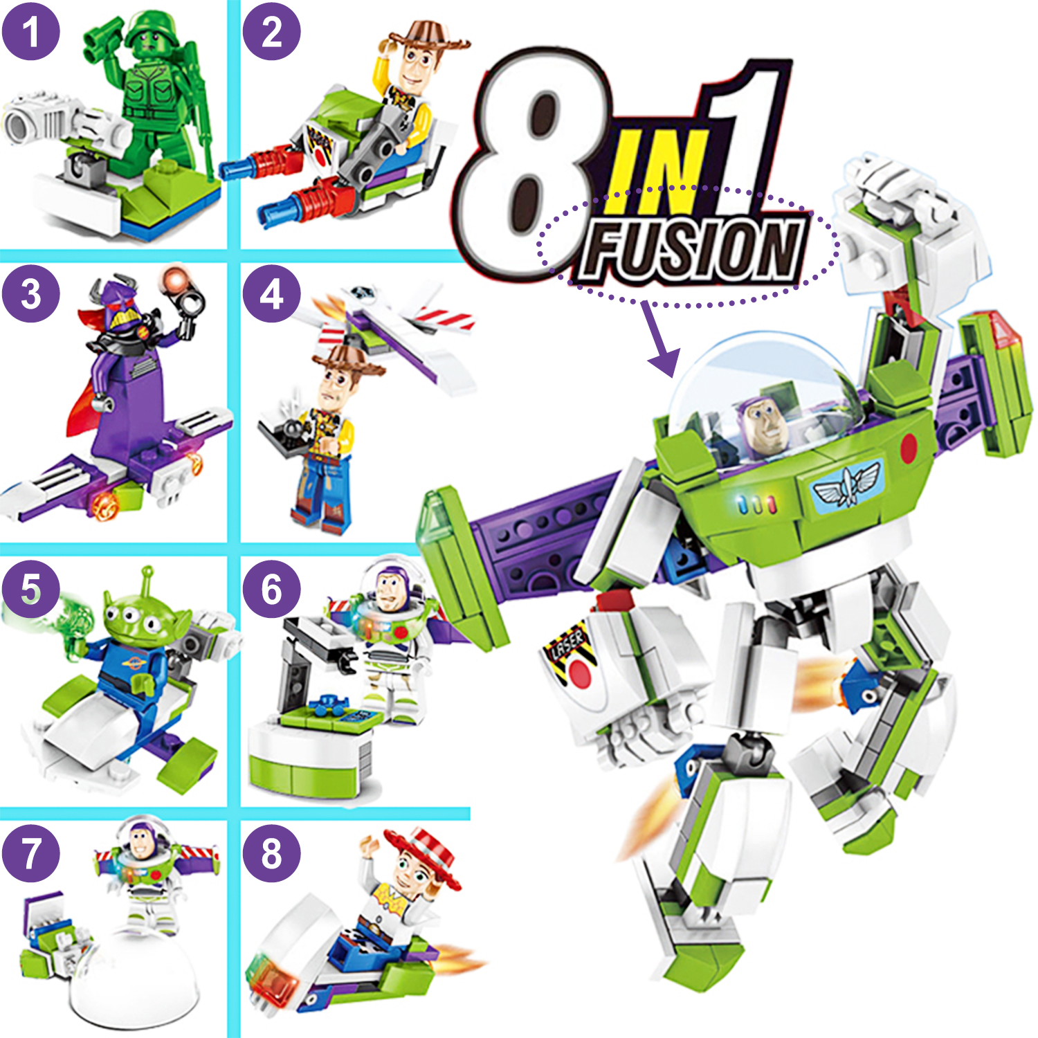 Image 2 - 8 in1 Toy Story 4 Figures Gremlins Gizmo Woody Buzz Lightyear Jessie Andy Super Mario Building Blocks Friend toys-in Blocks from Toys & Hobbies