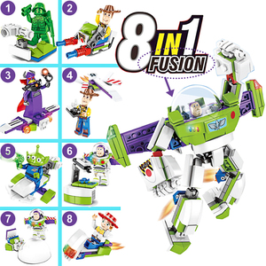 Image 2 - 8 in1 Toy Story 4 Figures Gremlins Gizmo Woody Buzz Lightyear Jessie Andy Super Mario Building Blocks Friend toys