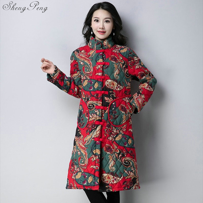 Ladies Thickening Winter Coat 2018 New Chinese Style Women Floral Print Vintage Coats Female Flowers Cotton Padded Jackets V1063