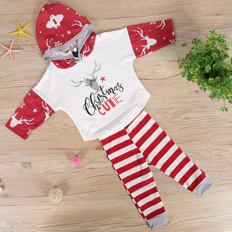 49ee467d7 3 18M Newborn Infant Baby Girls Christmas Outfit Deer Hoodies with Striped  Pants My first Christmas outfits Spring Costume -in Clothing Sets from  Mother ...
