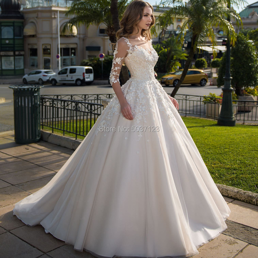 Ball Gown Wedding Dresses Tulle Three Quarter Lace Up Scoop Vestido De Noiva Bridal Wedding Gown Floor Length Robe De Mariée