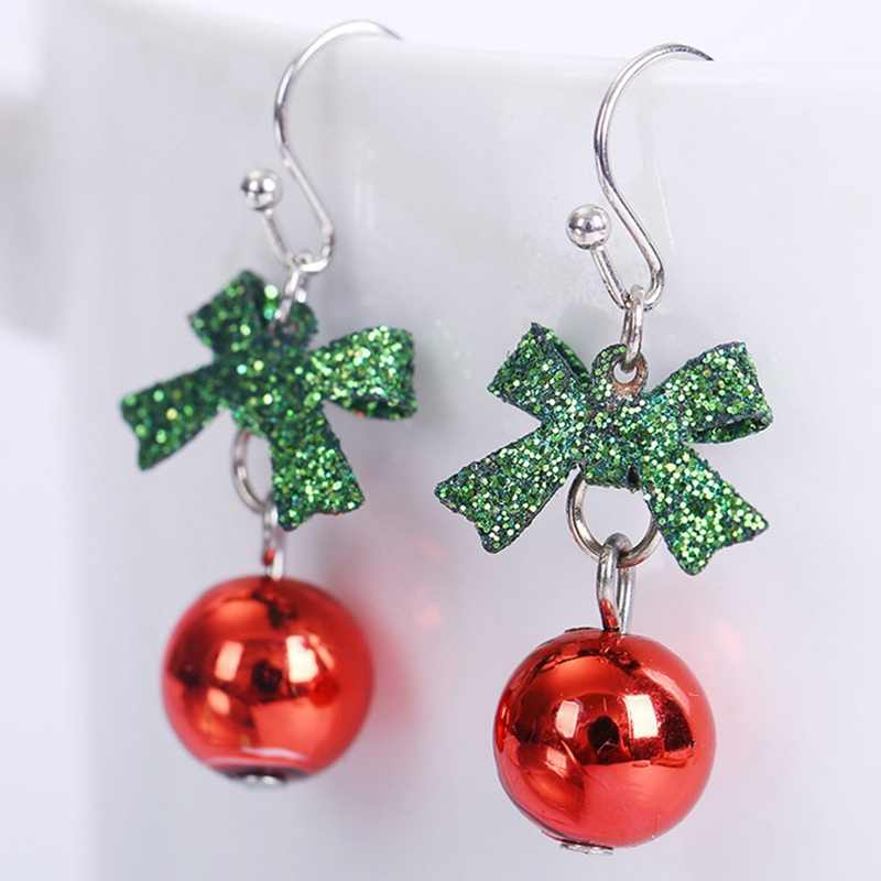 Christmas Gift Bowknot Dangle Earring Red Green Jewelry Trendy Christmas Xmas Charm Simple Ball Pendant Earring For Women Girl