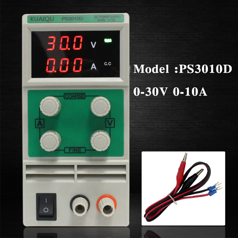KUAIQU 30V 10A Variable DC Power Supply 3 digits transformers laboratory Voltage regulator PS3010D transformer for