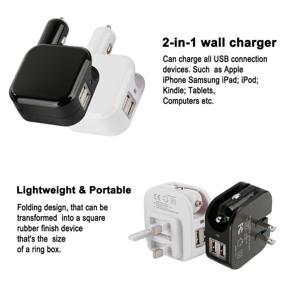 2 in1 USB Car Charger Cho Điện Thoại Di Động Điện Thoại Máy Tính Bảng Sạc Nhanh Xe-Sạc Du Lịch USB Tường Charger Kép USB sạc nhanh 3.0 Bộ Chuyển Đổi