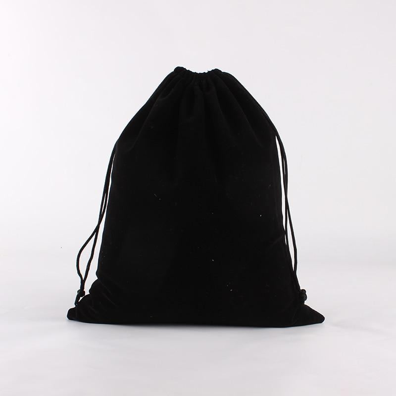 10pcs/lot 25*30cm Black Customized Logo Printed Wedding Velvet Drawstring Pouch Large Packing Bags