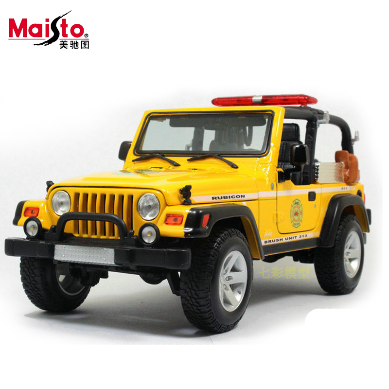 Maisto Jeep Wrangler Rubicon Fire Engine 1:18 Scale Alloy Model  Metal Diecast Car Toys High Quality Collection Kids Toys Gift 1 18 scale maisto classic children 1956 chrysler 300b antique vintage car metal diecast vehicle gift model kids toys collectible