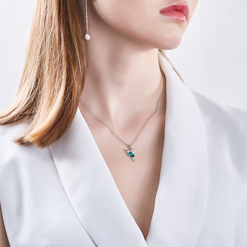 Image 5 - Cdyle Hummingbird Jewellery 925 Sterling Silver Link Chain Necklace Embellished with crystal Women Pendant-in Pendant Necklaces from Jewelry & Accessories