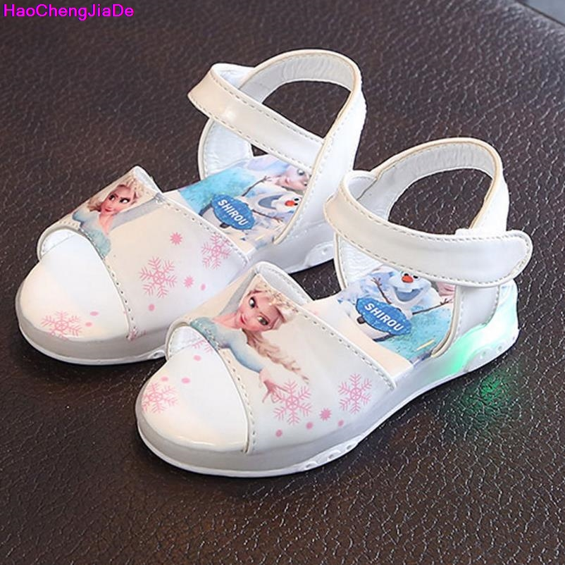 New Summer Girls Sandals Fashion Led Light Shoes For Baby Cute Cartoon Non Slip Soft Bottom All-match Flat Children Sandals Kids