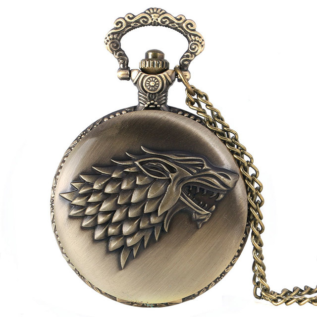 2016 New Arrival Bronze Thrones of Game Stark House Crest Pattern Fob Pocket Wat