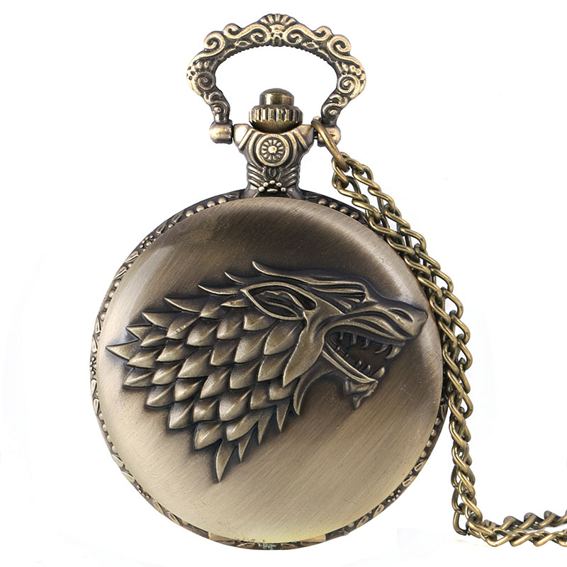2019 New Arrival Bronze Thrones Of Game Stark House Crest Pattern Fob Pocket Watch Quartz Necklace Chain Pendant For Men Women