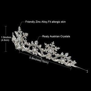 Image 2 - Real Austrian Crystals Women Princess Snowflake Tiara Crown Bridal Wedding Christmas Hair Jewelry Accessories SHA8756