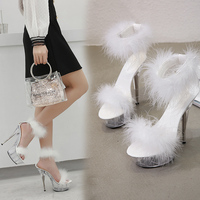 Female Sandals Women Platform Model T Stage Shows 2019 Summer Shoes Sexy High Heels 15cm Shoes Feathers Bride Wedding Shoes