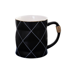 450ml Golden Rim Black And White Grid Ceramic Mug With Handle High Quality Coffee Milk Tea Cup Business Office Gift