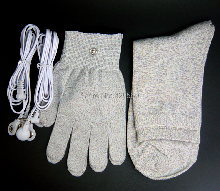 Conductive Slivery Fiber Electrode Massage Gloves & Socks & 2pcs Jack 3.5mm Lead Wires For TENS/EMS Unit Physical Therapy foot massage socks tens electrode socks silver fiber socks care physical therapy socks contain tieline