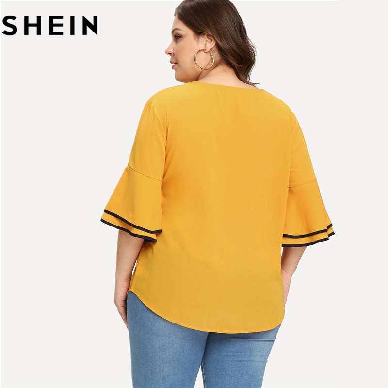 SHEIN Yellow Tiered Layer Ruffle Half Sleeve O Neck Plus Size Casual Woman Blouse 2018 Office Lady Bow Front Solid Top Shirts 1