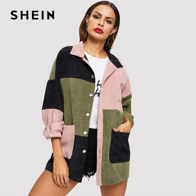 SHEIN Multicolor Casual Colorblock Cut And Sew Single Breasted Pocket Front Corduroy Jacket Autumn Leisure Women Coat Outerwear 4