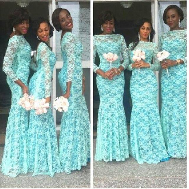 New 2017 Elegant Tiffany Blue Lace Mermaid long Bridesmaids Dresses ...