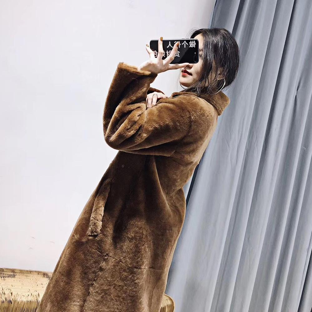 2019 winter real fur coat women merino sheep fur genuine leather linner jacket double faced outerwear thick warm parka england in Real Fur from Women 39 s Clothing
