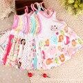 Детские детской одежды 0-2years девочек младенческой хлопка одежды платье летняя одежда напечатаны вышивка девушка дети одеваются