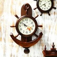Mediterranean Style Wood Retro Iron Anchor Wall Decoration Clock Anchor Saat Needle Home Decoration Hanging Reloj