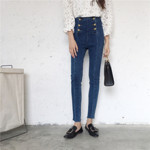 Korean 2017 autumn double-breasted casual high waist jeans personality nine points skinny jeans woman